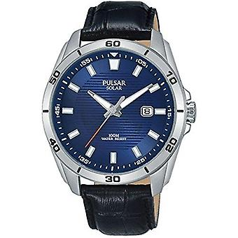 Pulsar Solar Stainless Steel Case Black Leather Strap Mens Watch PX3155X1 40mm
