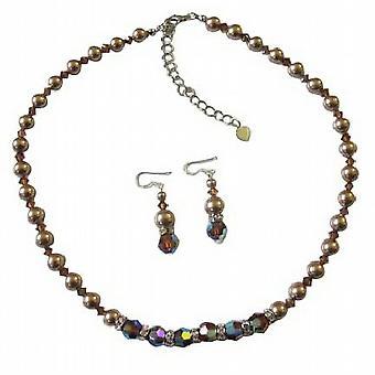 Swarovski Smoked AB Topaz Crystals Swarovski Bronze Pearls Jewelry Set