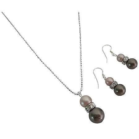 Champagne & Brown Pearls Enticing Necklace & Earrings Set
