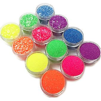 12 blikjes glitter voor nail decoratie fine-grained/zeshoek