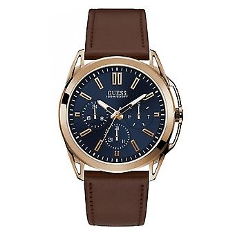 Watch Guess Vertex W1217G2 - multifunction steel man brown leather strap Rose Gold case
