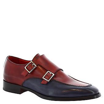 Leonardo buty męskie buty handmade Dwuosobowy mnich w skóry cielęcej czerwony i niebieski