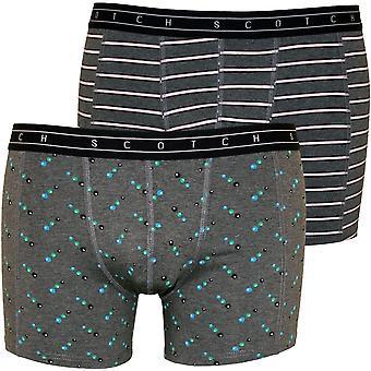 Scotch & Soda 2-Pack Circles And Stripes Boxer Briefs Gift Set, Grey Melange