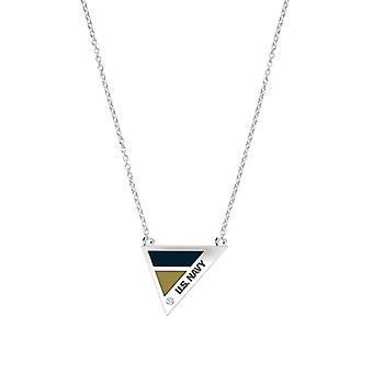 Us Navy - Us Navy Inciso diamante geometrico collana in blu scuro e marrone chiaro