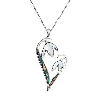 Ewige Sammlung Schneeglöckchen Herz Mutter der Perle und Paua Shell Silberfarbe Anhänger