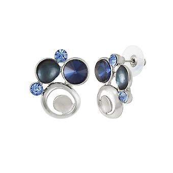 Eternal Collection Vivacious Blue Multi Enamel And Crystal Silver Tone Stud Pierced Earrings