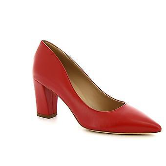 Leonardo skor kvinnors handgjorda Mid klackar pumpar skor i rött Napa läder