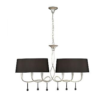 Mantra Paola Pendant 2 Arm 6 Light E14, Silver Painted With Black Shades & Black Glass Droplets