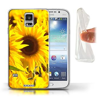 STUFF4 Gel TPU Case/Cover for Samsung Galaxy S5/SV/Sunflowers/Floral Garden Flowers