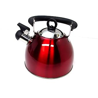 Red Stainless Steel Whistling Kettle 2.5L Stove Top Hob Kitchenware Tea Camping