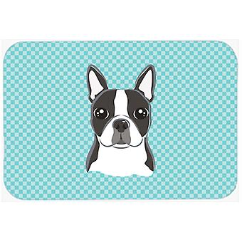 Checkerboard Blue Boston Terrier Mouse Pad, Hot Pad or Trivet BB1141MP
