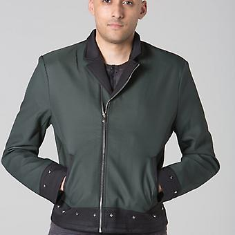 Polar Whites Mens Green Faux Leather Jacket l : l