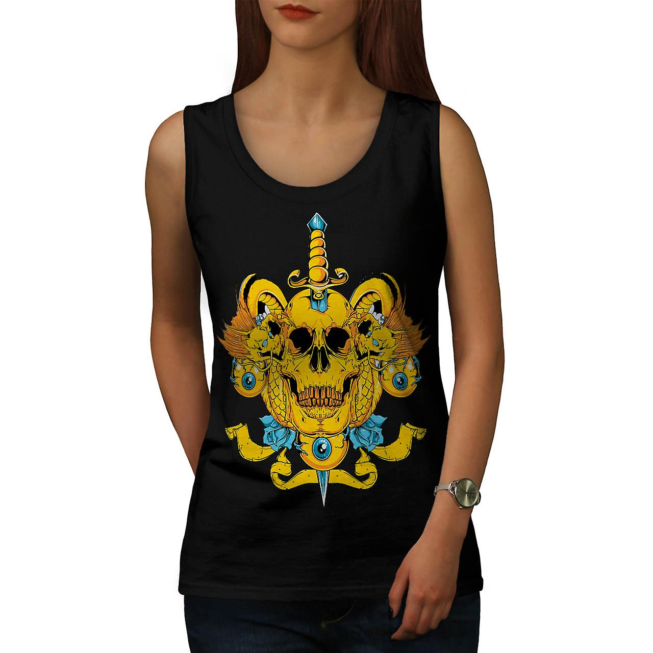Sword Skull Head Dead Devil Eyes Women Black Tank Top | Wellcoda
