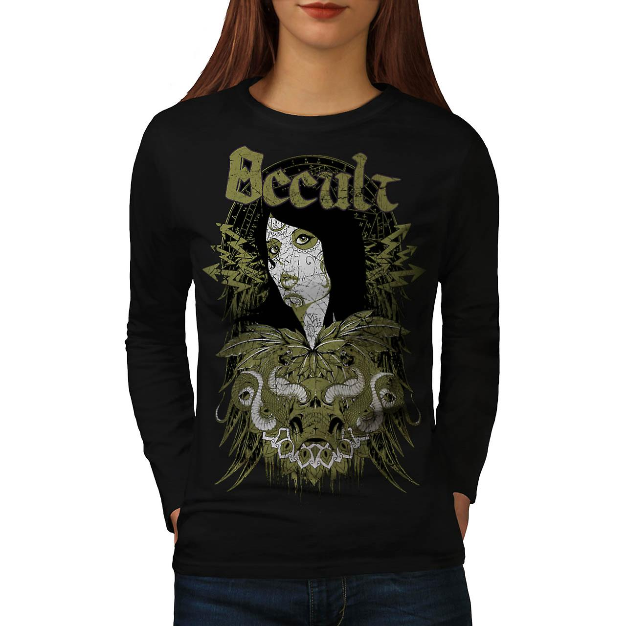 Occult Cult Lady Girl Pout Model Women Black Long Sleeve T-shirt | Wellcoda