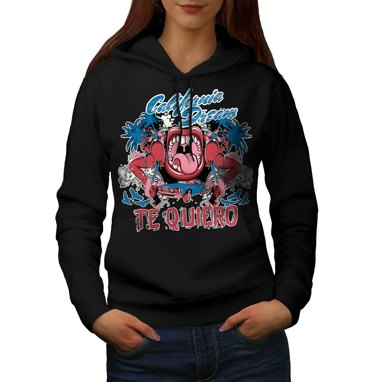 Te Quiero Art California Women Black Hoodie | Wellcoda