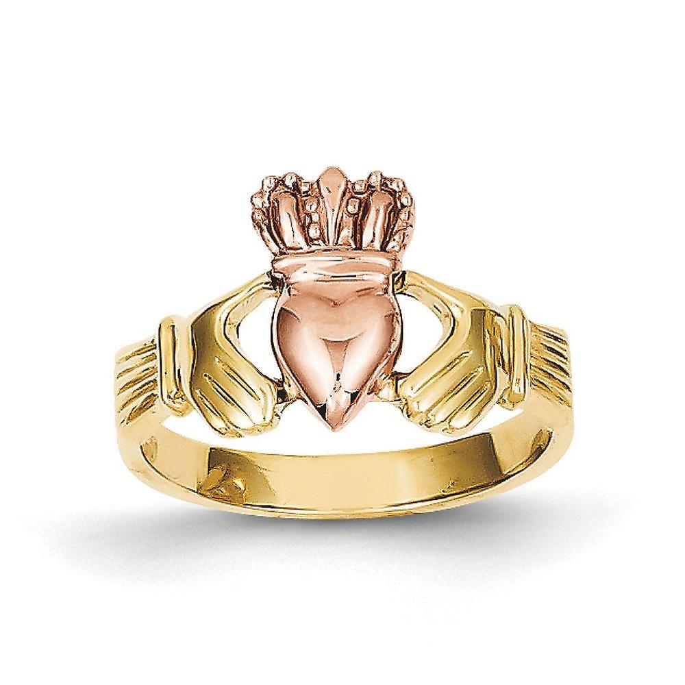 14k Two-Tone Solid Open back or Polished Claddagh Ring - 3.6 Grams - Taille 6