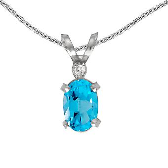 14k White Gold Oval Blue Topaz And Diamond Filagree Pendant with 18