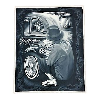 DGA Tees Reflections Sherpa Double Sided Plush Blanket Car Polish Sugar Skull