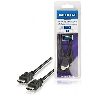 ValueLine high speed HDMI cable with Ethernet HDMI connection HDMI connection 1.00 m, black