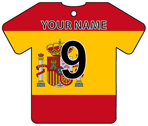 Personalised Spain Flag Jersey Car Air Freshener