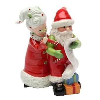 Fru Claus og Santa kontrol liste to gange Christmas Holiday Salt og peber sæt