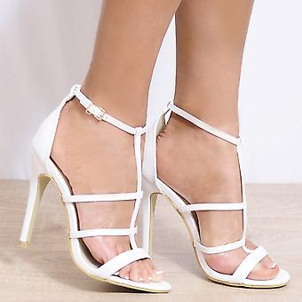 Koi Couture White Stilettos - Ladies White Ed18 Stilettos Peep Toes Ankle Strap Strappy Sandals High Heels