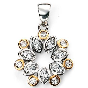 925 Silver Gold Plated Zirconium Necklace And Flower