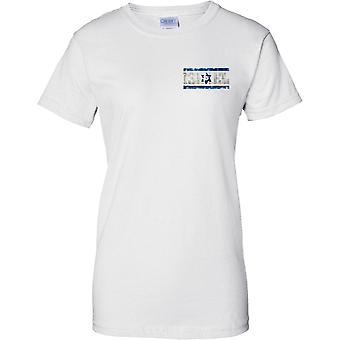 Israel Grunge Country Name Flag Effect - Ladies Chest Design T-Shirt