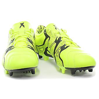 adidas X 15.2 FG/AG Leather Yellow Mens Football Boots/Soccer Cleats