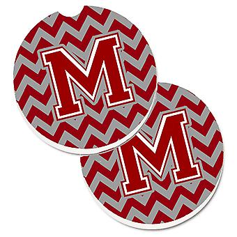 Letter M Chevron Maroon and White Set of 2 Cup Holder Car Coasters
