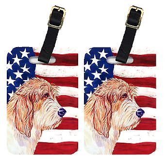 Pair of USA American Flag with Petit Basset Griffon Vendeen Luggage Tags