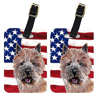 Pair of Norwich Terrier with American Flag USA Luggage Tags