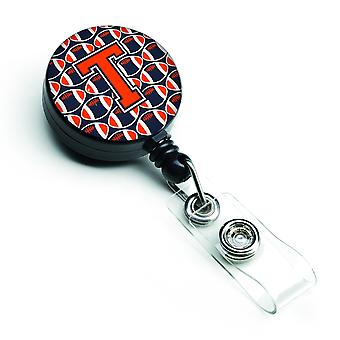 Letter T Football Orange, Blue and white Retractable Badge Reel