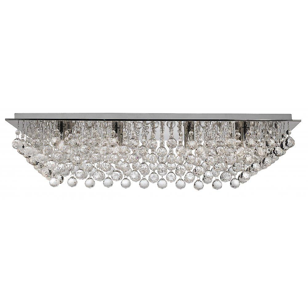 Searchlight 6728-8CC Hanna Chrome/Crystal Flush Ceiling Light