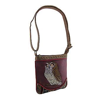 Faux leder geborduurd Owl Crossbody handtas verstelbare riem