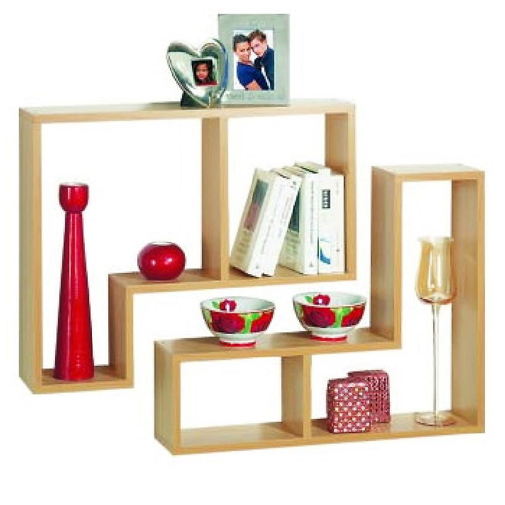 Twin - Wall Display / Storage Floating Shelves - Set Of Two - Beech