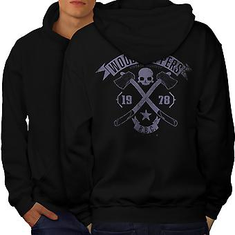 WoodBikerss Club Men BlackHoodie Back | Wellcoda