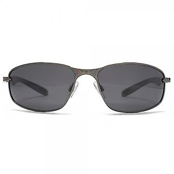 Freedom Polarised Oval Metal Wraparound Sunglasses In Gunmetal