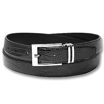 Biagio Croc Embossed Men's Bonded Leather Belt Silver-Tone Buckle