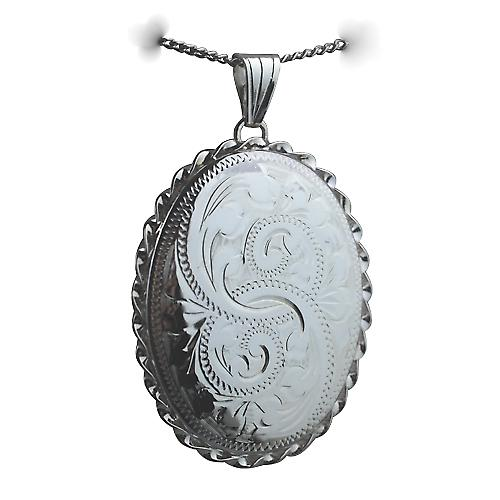 Silver 37x28mm engraved twisted wire edge oval Locket with a curb Chain 22 inches