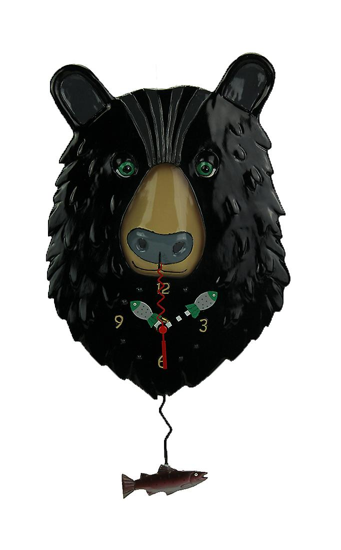 Allen Designs Burly Bear and Fish Pendulum Wall Clock