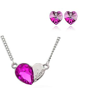 Womens Pink Pendant Love Heart Necklace & Earrings Set