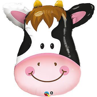 Folieballon contented cow glückliche Kuh Gesicht Bauernhof circa 80cm hoch