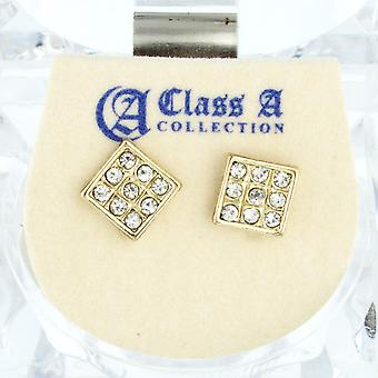 Iced out bling earrings box - SQUARE gold