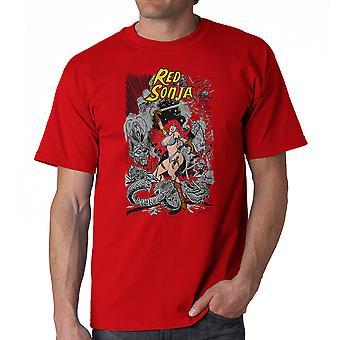 Red Sonja Cover slaget mænds rød T-shirt