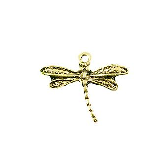 Packet 10 x Antique Gold Tibetan 17mm Dragonfly Charm/Pendant ZX03325