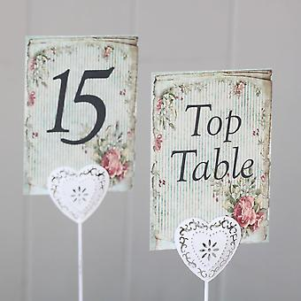 Vintage Striped Green Floral Wedding Table Numbers Top Table - 1 - 15 Rustic