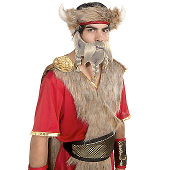Warrior King Viking Medieval Norse Barbarian Men Costume Blonde Beard Moustache