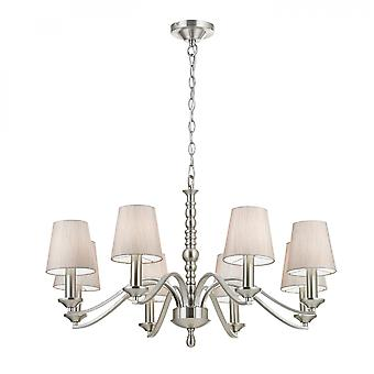 Satin Nickel Effect Plate & Natural Tc Fabric 8lt Pendant 40W