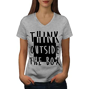 Think Outside Women GreyV-Neck T-shirt | Wellcoda